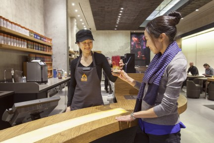 Teavana service bar offers the store's entire selection of loose leaf tea.